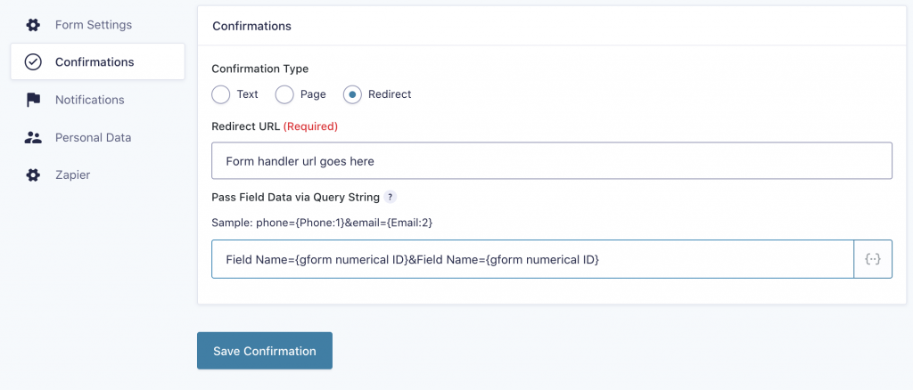 Paste in the form handler URL and map the fields with matching field names and gravity form field IDs.
